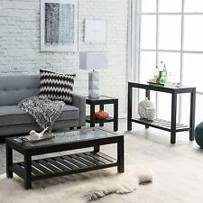 Black 3 Piece Tempered Glass Top Coffee Table Living Room Set Home Furniture Den