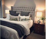 KING SIZE BED HEAD  DIAMOND BUTTONED WINGED BACK UPHOLSTERED BEDHEAD HEADBOARD