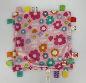 Bright Starts Taggies Security Blanket Lovey Pink Flowers Rubber Teether Tags
