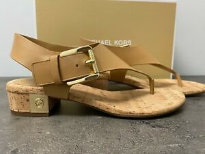NEW Michael Kors Size 6 London Thong Block Heel Sandals Peanut Tan Gold MK Logo