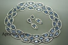 Vintage Cristobal London blue clear swarovski crystal bib necklace set