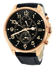 Tommy Hilfiger 1791273 Black Rose Gold Day Date Dial Leather Band Watch New