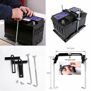 19cm Universal Metal Car Battery Tray Adjustable Hold Down Clamp Bracket Kit Set