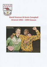 DAVID SEAMAN & KEVIN CAMPBELL ARSENAL ORIGINAL HAND SIGNED MAGAZINE CUTTING
