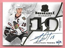 """15/16 The Cup Jonathan Toews Dual """"19"""" 2 Color Patch On Card Autograph #16/19"""