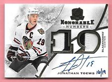 "15/16 The Cup Jonathan Toews Dual ""19"" 2 Color Patch On Card Autograph #16/19"