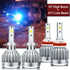 LED Headlight Kit High Low Beam H7 H11 8000K Ice Blue For GMC Acadia 2007-2012