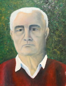 Fauvist oil painting man portrait signed