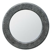 BLACK SILVER EMBOSSED MIRRORED GLASS ROUND WALL MIRROR (T8228) BALI