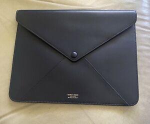 "GIORGIO ARMANI  Blue Leather Document Case Envelope Clutch 10 1/4"" x 8"" - ITALY"