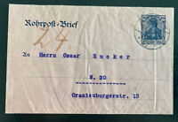 1908 Berlin Germany Rohpost pneumatic Mail stationery Cover domestic