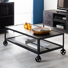 Metal Coffee Table on wheels Dark Finish Industrial Style Furniture
