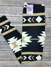 PLUS Size Tan Tribal Aztec Leggings Curvy 10-18