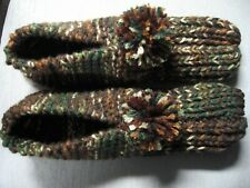 """New listing Unisex Adult Amish Handmade Slippers Brown & Green Mix Wms X Lg Mans Lg 10 1/2"""""""
