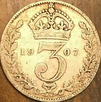 1907 GREAT BRITAIN EDWARD VII SILVER THREEPENCE COIN KM# 797.2
