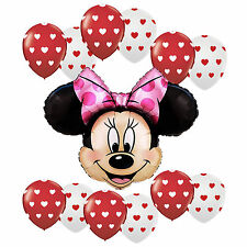 Birthday Party Girl Minnie Mouse Heart dots White Red Latex Foil Balloons bouque