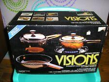 New ListingVtg Corning Visions Rangetop Cookware Amber 5-Piece Starter Set V-168 Nib