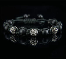 Premium Armband | Herren Shamballa Onyx Zirconia Stein Halbedelstein Perlen Neu