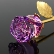 24K Gold Crystal Rose Dipped Flower Real Stem Romantic Valentine's Day Love