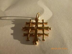 14K Yellow Gold James Avery Jerusalem Cross Charm / Pendant Yellow Gold