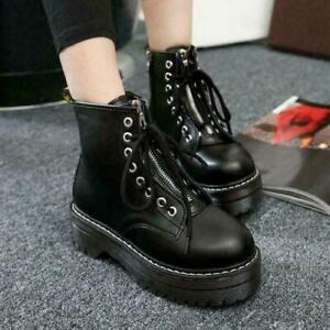Fashion Women Zip Creepers Chunky Cleated Platform Punk Ankle Boots Shoes