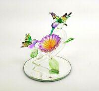 """Hummingbird Figurine Sculpture Hand Blown Glass Crystal 3 1/2"""""""