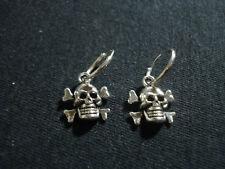 coppia orecchini argento 925 cerchietto liscio teschio jolly roger uomo donna