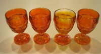 (4) Mid Century Viking Glass GEORGIAN Orange Water Goblets