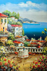 Italian Home Beach Patio Flowers Table For Two Tall 24X36 Oil Painting STRETCHED