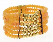 Lucky Brand Peach Carnelian and Gold Tone Bead Leather Multi Row Bracelet $69
