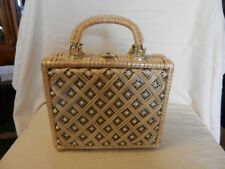 Vinyl Lattice & Beaded Women's Purse With Lock Clasp, Cream Color from ADG