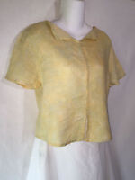 FLAX Jeanne Engelhart Yellow Green Crossweave SS Linen Tunic Top Shirt Petite P