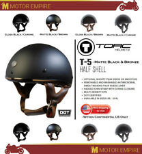 TORC T-5 Half Shell Chin Strap Motorcyle Chopper Helmet Matte Black Brown DOT