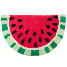 Tropical Watermelon Rug Mat Red Green Fruit Half Moon Shape Fun Lively Happy
