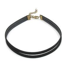 Punk Retro Gothic Leather Double Chain Bib Choker Cord HOT Necklace Women's