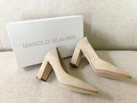 Manolo Blahnik TUCCIOTOTO Beige Suede Block Heel Pumps IT 37 / US 7 NEW IN BOX