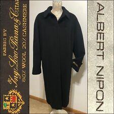 Albert Nipon 16W Black Loro Piana Wool & Cashmere Long Women's Coat Made in USA