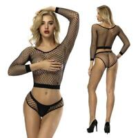 Women Ladies Long Sleeve See Through Mesh Fishnet Crop Top T-Shirt + Panties Set