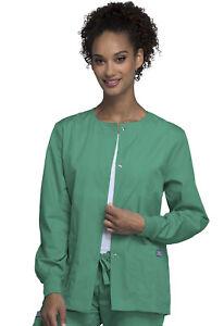 Cherokee Workwear Originals Snap Front Warm-Up Jacket 4350 SGRW Sugical Green