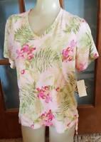 Jamaica Bay Womens L Pink Tropiocal Floral Print Top Short Sleeve NEW NWT