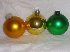 Vintage Shiny Brite Christmas Tree Ornament Balls 3 LOT Mercury Glass Green Gold