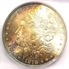 1878 7TF Morgan Silver Dollar $1 Rainbow - ICG MS65 - Rare in MS65 - $942 Value!