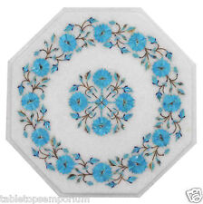 1'x1' Marble Coffee Table Top Turquoise Inlay Semi Precious Furniture Home Decor