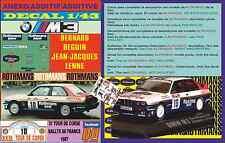 ANEXO DECAL 1/43 BMW M3 ROTHMANS BERNARD BEGUIN TOUR DE CORSE 1987 (03)