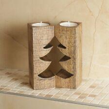 Handmade Christmas Tree Vintage Candle Holder Wood Table Gift Desk Pillar Set