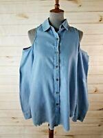 Umgee Size Medium Blue Long Sleeve Cold Shoulder Button-Up Frayed Hem Blouse