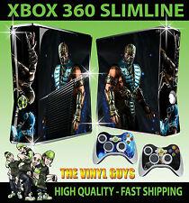 XBOX 360 SLIM SUB ZERO ICE MORTAL KOMBAT x ADESIVO SKIN e 2 x controllo SKIN PER PAD