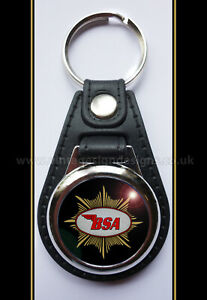 BSA STAR LOGO FAUX LEATHER KEY RING OFFICIALLY LICENSED B.S.A PRODUCT. &™ BSA