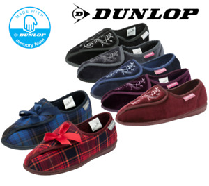 Ladies Dunlop Wide House Touch Fasten Washable Memory Foam Orthopaedic Slippers
