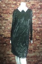 Michael Kors Black Silver White Collar Shiny Lace  Shift Dress Size 4
